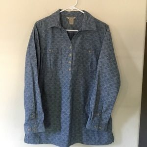 DULUTH TRADING 1/2 BUTTON UP PULL OVER TUNIC SHIRT